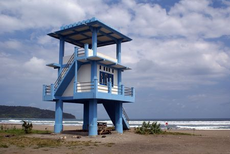 Lifeguard tower on the beach in Pangandaran, Ianonesia             photo