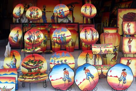 Plates in the souvenir shop in Ubud, bali, indonesia Stock Photo - 3416997