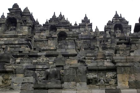 Buddhas on the wall of Borobudur, Java, Indonesia Stock Photo - 3419076
