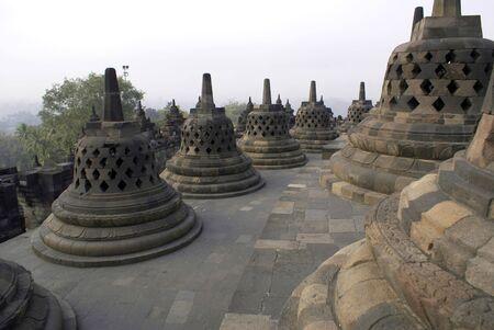 stupas: Stupas on the temple Borobudur, Java, Indonesia                 Stock Photo