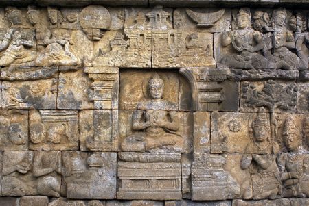 On the wall of Borobudur, Java, Indonesia                  photo