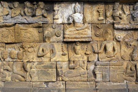 Sandstone wall of Borobudur, Java, Indonesia                     photo