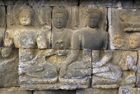 Buddhas on the wall of Borobudur, Java, Indonesia                  Stock Photo - 3419904