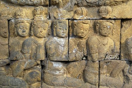 Women on the wall of Borobudur, Java, Indonesia Stock Photo - 3419903