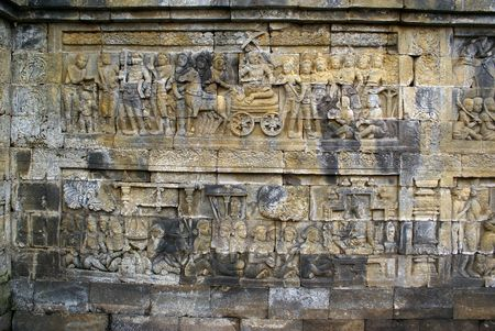 Story from Jataka on the wall of Borobudur, Java, Indonesia                    photo