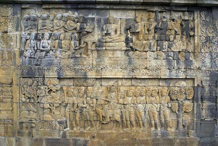 Story from Jataka on the wall of Borobudur, Java, Indonesia             Stock Photo - 3419911