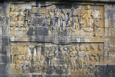 Story tale on the wall of Borobudur, Java                    photo