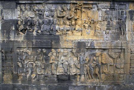 Stone wall in Borobudur, Java, Indonesia                  photo