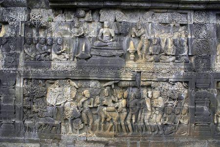 On the wall of monument Borobudur, Java, Indonesia                  photo
