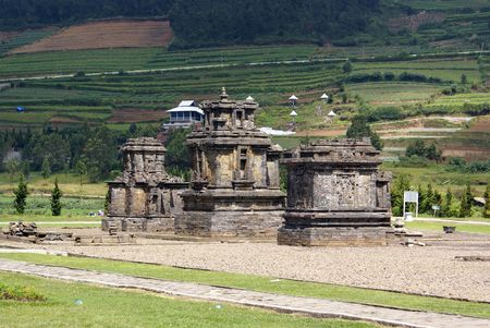 oldest: Temples of Arjuna complex on plateau Dieng, Java                  Stock Photo