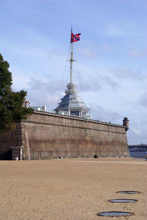 neva: River Neva, beach and castle, St-Petersburg, Russia