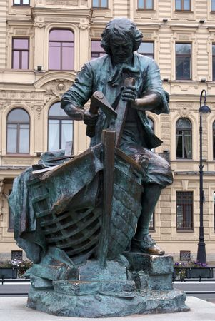 peter the great: Bronze statue Peter the Great, St-Petersburg                  Stock Photo