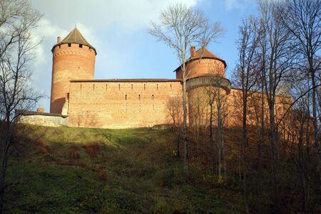 sigulda: Red brick castle on the hill in Sigulda, near Riga, Latvia                    Stock Photo