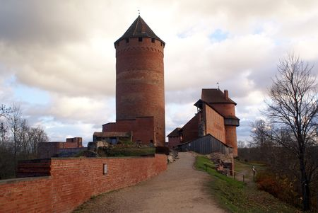sigulda: Tower and red brick castle in Sigulda, near Riga, Latvia