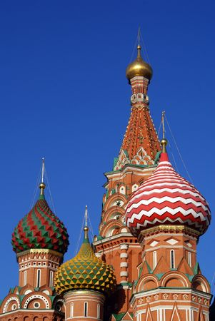 Top of St. Basil's cathedral on the Red Square in Moscow                   Stock Photo - 3849395