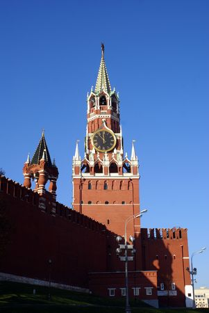 Clock tower Spasskaya Bashnya in Kremlin, Moscow, Russia                 photo