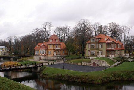 estonia: Old houses and river in Saaremaa, Estonia