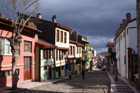 Street in old town of Afyon in Turkey                   Stock Photo
