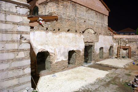 iznik: Ruins of Aya Sophia church at night in Iznik, Turkey
