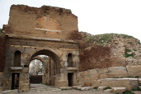iznik: Lefke gate and wall of Iznik, Turkey                  Stock Photo