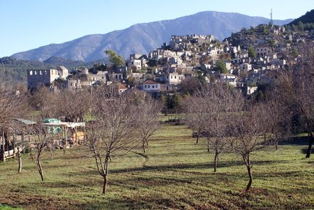 kayakoy: Orchard and ruins of village Kayakoy, Turkey