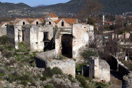 kayakoy: Ruins of old church in village Kayakoy near Fethie, Turkey