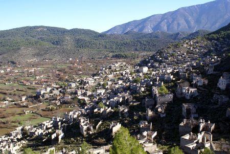 kayakoy: Ruins of stone houses in village Kayakoy, Turkey