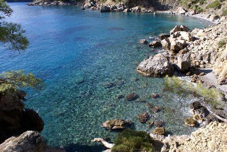 oludeniz: Bay and sea coast near Fethie, Oludeniz, Turkey                    Stock Photo