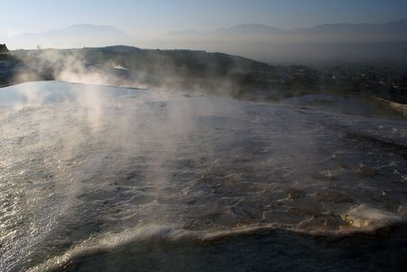 Hot springs and mount in Pamukkale, Turkey                   photo