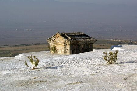 phenomena: Sarcophaguses and tomb on the tracertine in Pamukkale                 Stock Photo