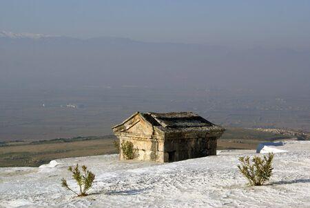 carbonates: Tombs on the travertine mount in Pamukkale, Turkey