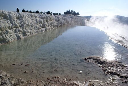 carbonates: Pool with hot water in Pamukkale, Turkey               Stock Photo