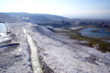 carbonates: River and mountain with lake in Pamukkale,Turkey