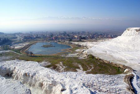 phenomena: Lake and mountain in Pamukkale, Turkey