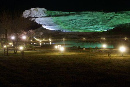 deposit slip: Lights and travertine mount in Pamukkale at night                    Stock Photo
