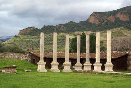Green grass and ruins near mount in Sardis, Turkey