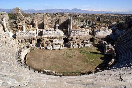 near side: Theater in Side near Antalya, Turkey