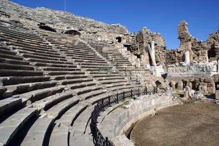 near side: Old theater in Side near Antalya in Turky
