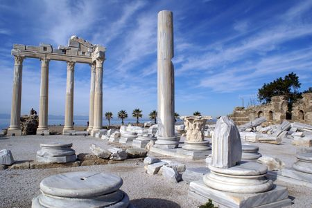 White temple Athena in Side near ASntalya, Turkey
