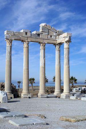 Ruins of Athena temple in Side near Antalya, Turkey Stock Photo - 4360899