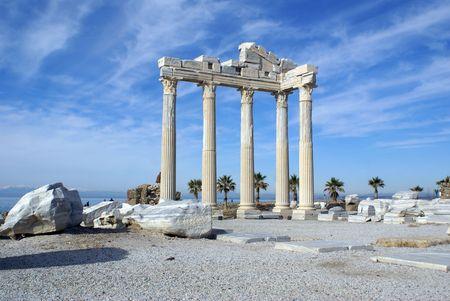 near side: Ruins of Athena temple in Side near Antalya, Turkey