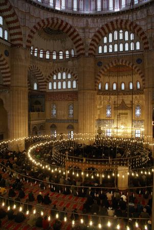 camii: People and mosque Selimiye in Edirne, Turkey