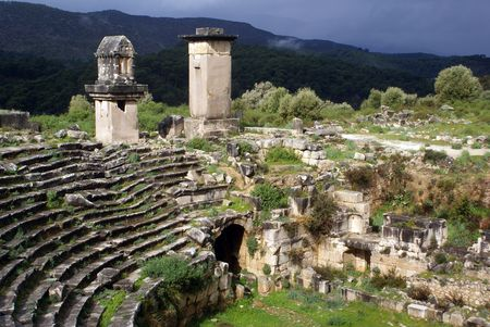 Theater and ruins in Xanthos, West Turkey Stock Photo - 4517641