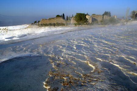 carbonates: Water, ruins and travertine in Pamukkale, Turkey