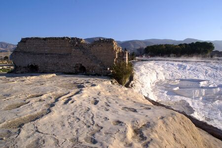 carbonates: Ruins and travertine on the mount in Pamukkale, Turkey