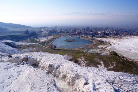 carbonates: Lake and mountain in Pamukkale, Turkey