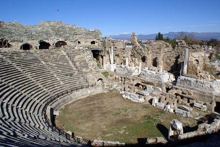 near side: Ruins of old theater in Side near Antalya