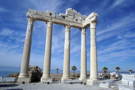 near side: Athena temple in Side near Antalya, Turkey
