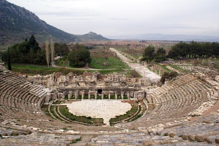 Theater and mountain in Ephesus, Turkey            photo