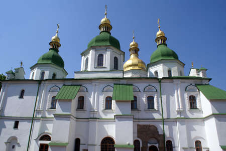 sain: White church with green roof in Sain Sophia monastery, Kiev